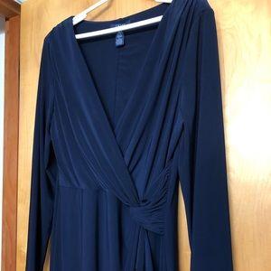 Dark Blue Long Sleeve Knee Length Dress